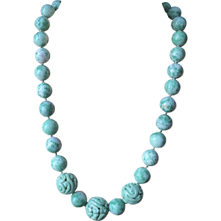 Vintage 1900's Chinese Carved Moss In Snow Apple Green White Jade Necklace