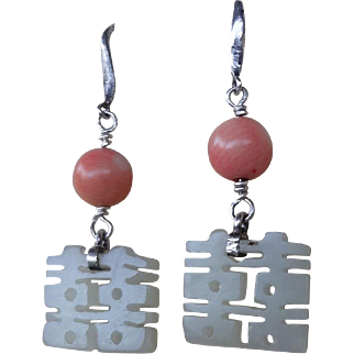 Antique Chinese Hand Carved Mutton Fat Nephrite Coral Earrings