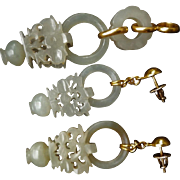 1850-1899 Qing Chinese 14k Mutton Fat Devil's Work Nephrite Wedding Basket Earrings & Pendant Set