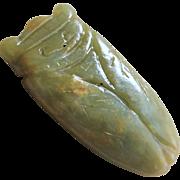 Vintage 1970's Chinese Large Green Nephrite Jade Cicada Pendant
