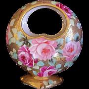 Nippon Noritake Basket Vase Heavy Gold Gilding