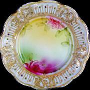 1880-1918 Japanese Nippon Porcerlain Plate Jewels Roses Heavy Gold Gilding Beading