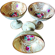 Antique Nippon Set Of 3  Eggshell Sherbert Bowls Red Roses Heavy Gold Beading