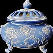 Rare Large Nippon Wedgwood Moriage Incense Burner or Potpourri Jar with Lid