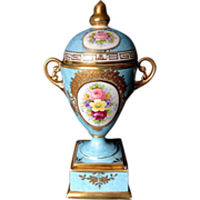 1912-1928 Nippon Noritake Bolted Urn With Lid Heavy Gold Layering