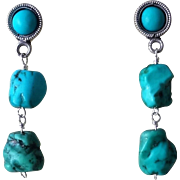 Vintage Chinese Turquoise Earrings Sterling Silver Posts