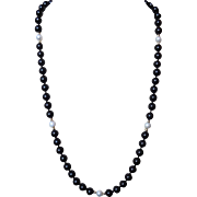 Vintage 14k Onyx Cultured Pearl Necklace