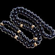 Vintage 10k Black Onyx Necklace 32 Inches 10 mm Gems