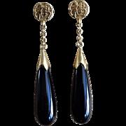 Vintage Chinese 14k Black Onyx Teardrop Earrings Pierced Ears