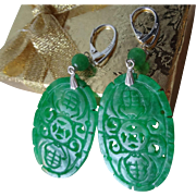 Large Vintage Chinese Translucent Emerald Green Jadeite Earrings