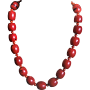 Vintage Ox Blood Red Natural Coral Necklace Sterling Clasp