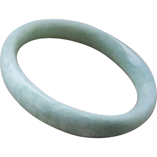 Vintage Chinese 1970's White Green Jade Bangle