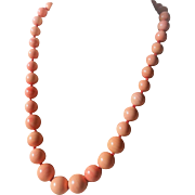Vintage 14k Pink Salmon Momo Coral 8-16mm Bead Size Necklace - 90.4 Grams