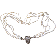 Vintage Art Deco Marcasite Mother Of Pearl Clasp Cultured Seed Pearl Necklace
