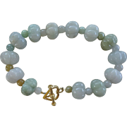 Pale Green Hand Carved Melon Shaped Jadeite Bracelet Gold Vermeil Clasp