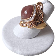 Vintage 1970's Chinese Export Purple Jadeite Gold Vermeil Ring Size 7