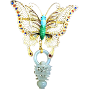 1850-1899 Qing Chinese Butterfly Mutton Fat Devil's Work Jade Vermeil Brooch