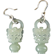 1850-1899 Qing Chinese Mutton Fat Devil's Work Nephrite Wedding Basket Earrings