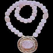 Antique 1850-1899 Qing Dynasty Chinese Rose Quartz Necklace Pendant
