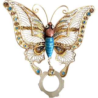 1850-1899 Qing Chinese Butterfly Mutton Fat Jade Vermeil Brooch