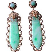 Antique Chinese Apple Green Jade Moth Filigree Earrings
