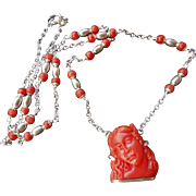 Vintage Italian Carved Red Coral Goddess Flora Cameo Sterling Silver Necklace