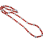 Vintage Red Coral Cultured Pearl Necklace Sterling Clasp