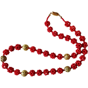 Vintage Chinese Hand Woven Dark Red Coral Necklace Filigree Beads