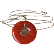Vintage Chinese 14k Red Jadeite Pendant 14k Chain Necklace