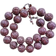 Vintage Chinese Hand Carved Rhodonite 18mm Shou Bead Necklace 20""