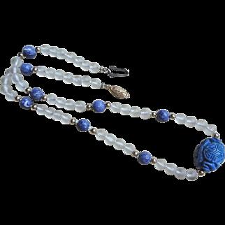 Vintage Chinese Rock Crystal Lapis Shou Necklace Gold Vermeil Clasp