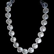 Transparent Faceted 16mm Rock Crystal Quartz Sterling Silver Linked Necklace
