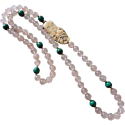 Vintage Rose Quartz Malachite Netsuke Necklace