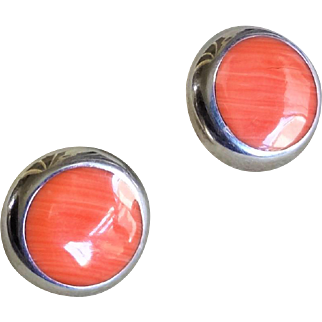 Vintage 1900's Coral Sterling Silver Round Earrings Pierced Ears