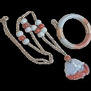 Vintage Chinese 14k White Red Translucent Jadeite Necklace Bracelet Set