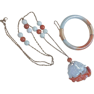 Vintage Chinese 14k Rust White Jadeite Necklace Bracelet Set