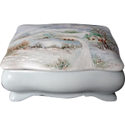 Vintage 1962 Hand Painted Porcelain Jewelry Trinket Box By World Renown Ruth Little (1907-1997).