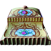 1800-1900 R. Bloch Porcelain De Paris Yellow Trinket Box Heavy Gold Gilding With Lid