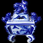 Vintage Kutani Japanese Blue and White Koro Incense Burner with Shishi Lion Lid and Shishi Lion Handles