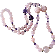 "Vintage Chinese Hand Carved Shou Rose Quartz Amethyst Necklace 34"" Long"
