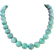 Vintage Chinese 14k Apple Green White Jadeite 12mm Beads Carved Shou Design Necklace