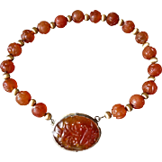 Chinese Export 1920's Art Deco Carved Shou Carnelian Necklace