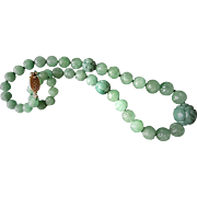 Vintage 1900's Chinese Apple Green Translucent Carved 20 mm Shou Aventurine Necklace Gold Vermeil Filigree Clasp