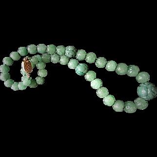 Vintage 1900's Chinese Apple Green Translucent Carved 20 mm Shou Aventurine Necklace Gold Vermeil Filigree Clasp