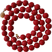 Vintage Chinese Hand Carved Red Shou Cinnabar Necklace Gold Vermeil Clasp