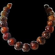 Vintage Chinese 17mm Shou Carved Brown Jade Necklace
