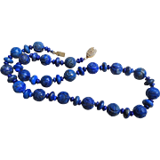 Vintage Chinese Shou Carved Sodalite Necklace Gold Vermeil Filigree Clasp