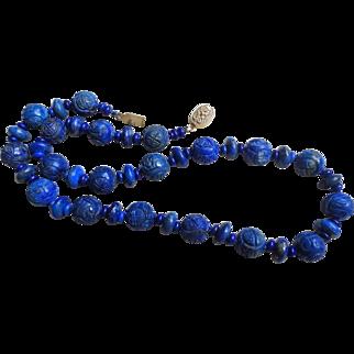 Vintage Chinese Shou Carved Lapis Lazuli Necklace Gold Vermeil Filigree Clasp