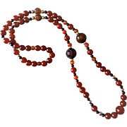 Vintage Chinese Shou Lotus Carved Deep Red Carnelian Necklace