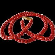 Vintage Ox Blood Red Mediterranean Coral 14k Single Strand Necklace